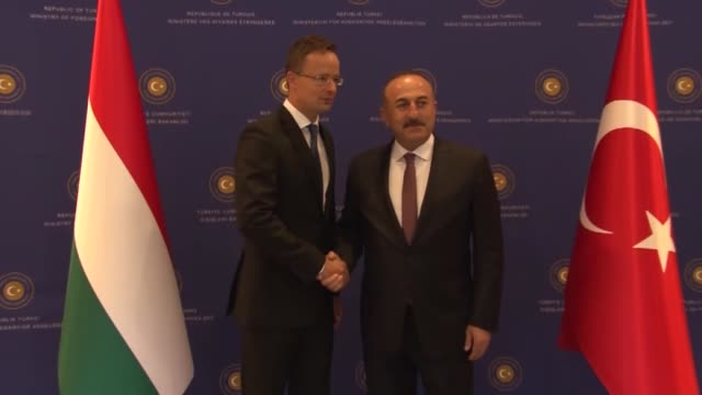 vídeos y material grabado en eventos de stock de turkish foreign minister mevlut cavusoglu and hungarian minister of foreign affairs and trade peter szijjarto meet and hold a joint press conference... - cultura húngara