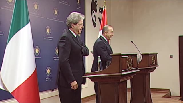 Turkish Foreign Minister Mevlut Cavusoglu and Italian Foreign Minister Paolo Gentiloni hold a joint press conference following their meeting at the...