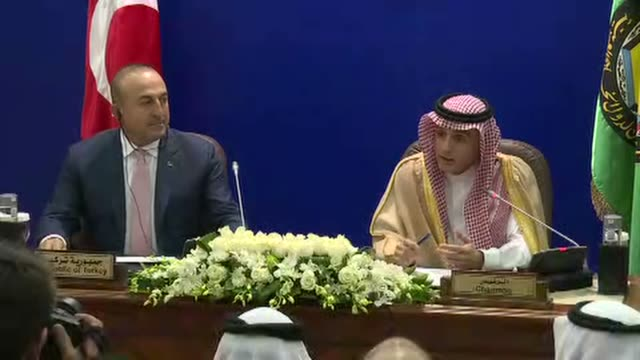 Turkish Foreign Minister Mevlut Cavusoglu and Minister of Foreign Affairs of Saudi Arabia Adel alJubeir hold press conference after their meeting in...