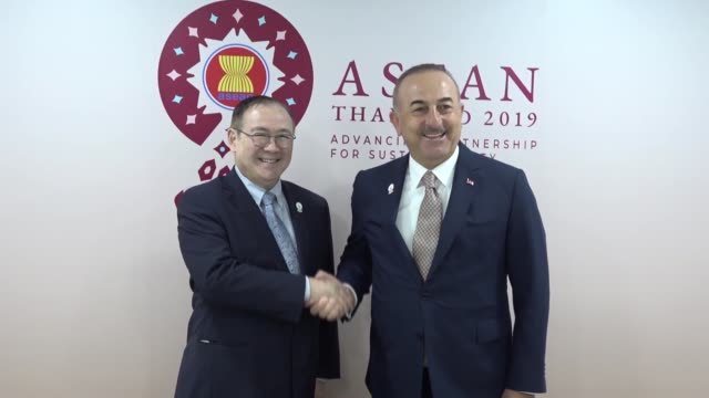 turkish foreign minister mevlut cavusoglu and philippine foreign affairs secretary teodoro locsin hold a meeting on the sidelines of the 52nd asean... - foreign minister stock videos and b-roll footage