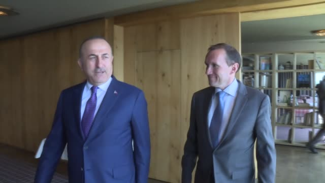 turkish foreign minister mevlut cavusoglu and special advisor to the un secretarygeneral on cyprus espen barth eide hold a meeting on the sidelines... - eurasia stock videos and b-roll footage