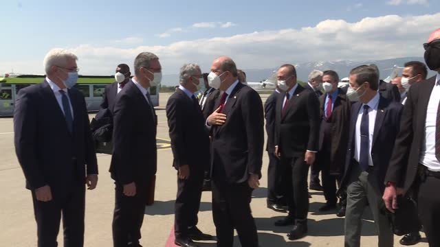 turkish foreign minister mevlut cavusoglu and turkish cypriot president ersin tatar arrived to geneva on tuesday to attend unofficial cyprus... - kicking stock videos & royalty-free footage