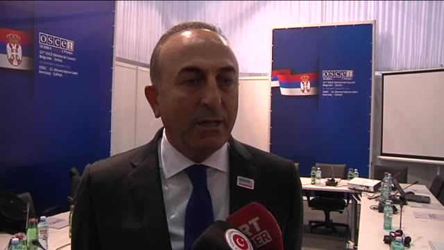 Turkish Foreign Minister Mevlut Cavusoglu answers the media questions after a bilateral meeting with his Russian counterpart Sergey Lavrov during the...