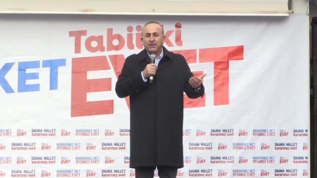 turkish foreign minister mevlut cavusoglu attends a campaign breakfast to boost 'yes' votes in turkey's april referendum on a constitutional change... - mediterranean turkey stock videos and b-roll footage