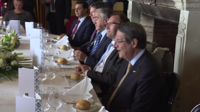 turkish foreign minister mevlut cavusoglu attends a luncheon with foreign affairs minister of greece nikos kotzias greek cypriot leader nikos... - alan duncan stock-videos und b-roll-filmmaterial