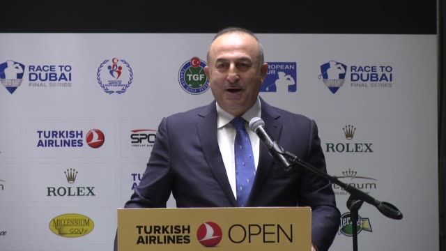turkish foreign minister mevlut cavusoglu attends a press conference during the turkish airlines open 2016 in antalya turkey on november 2 2016 lee... - pga event stock videos and b-roll footage