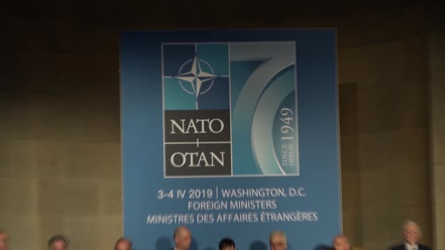 vídeos y material grabado en eventos de stock de turkish foreign minister mevlut cavusoglu attends a reception marking the 70th anniversary of the signing of the north atlantic treaty creating nato... - aniversario