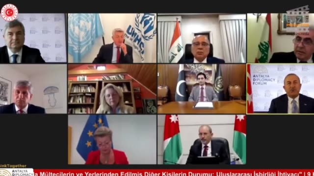 "turkish foreign minister mevlut cavusoglu attends an online panel titled ""situation of refugees and other displaced persons during the pandemic: the... - politician stock videos & royalty-free footage"