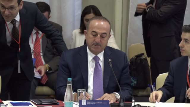 Turkish Foreign Minister Mevlut Cavusoglu attends the foreign ministers meeting of the Southeast European Cooperation Process chaired by Bosnia's...