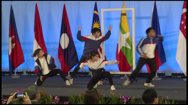 turkish foreign minister mevlut cavusoglu attends the opening ceremony of the asean 51st foreign ministers' meeting in singapore on august 02 2018... - association of southeast asian nations stock videos & royalty-free footage