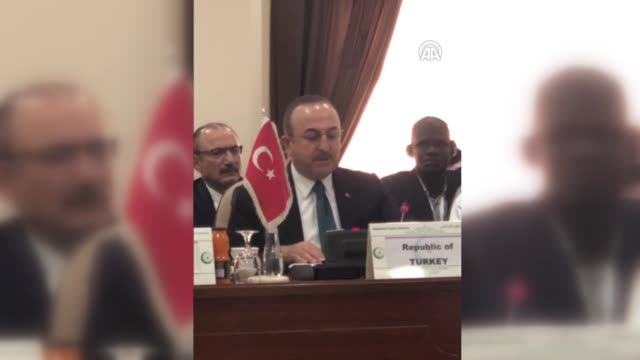 vidéos et rushes de turkish foreign minister mevlut cavusoglu attends the organization of islamic cooperation emergency open-ended executive committee ministerial... - jiddah