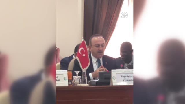 turkish foreign minister mevlut cavusoglu attends the organization of islamic cooperation emergency open-ended executive committee ministerial... - jiddah点の映像素材/bロール