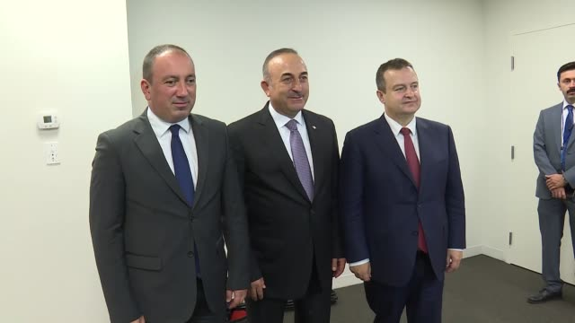 Turkish Foreign Minister Mevlut Cavusoglu Bosnian Foreign Minister Igor Crnadak and Serbian Foreign Minister Ivica Dacic hold a meeting on the...