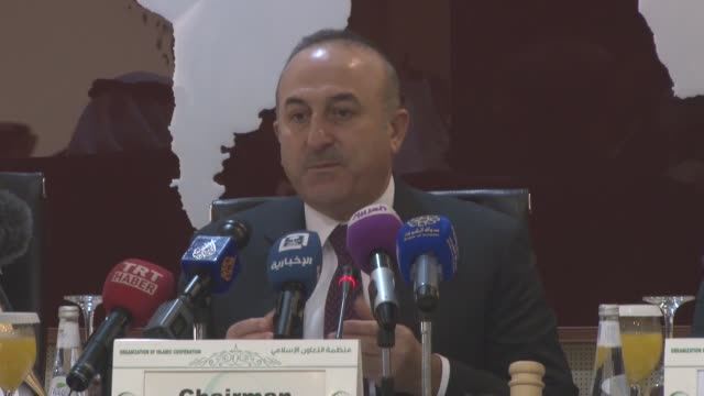 Turkish Foreign Minister Mevlut Cavusoglu chairs the Organization of Islamic Cooperation emergency ministerial meeting on the situation in Syria on...