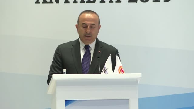 turkish foreign minister mevlut cavusoglu delivers a speech during the joint meeting of the 99th roseroth seminar and mediterranean and middle east... - mediterranean turkey stock videos and b-roll footage