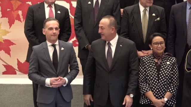turkish foreign minister mevlut cavusoglu german foreign minister heiko maas japanese foreign minister toshimitsu motegi saudi foreign minister... - participant stock videos and b-roll footage