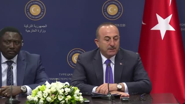 turkish foreign minister mevlut cavusoglu holds a joint news conference with his gambian counterpart mamadou tangara in ankara on april 18 2019 - foreign minister stock videos and b-roll footage