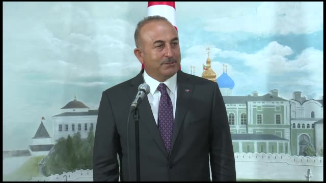 turkish foreign minister mevlut cavusoglu holds a joint press conference with president of tatarstan rustam minnikhanov in kazan on august 24 2018 - kazan russia stock videos and b-roll footage