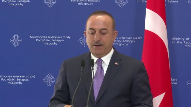 turkish foreign minister mevlut cavusoglu holds a joint press conference with his belarusian counterpart vladimir makei in minsk belarus on august 28... - cooperation stock videos & royalty-free footage