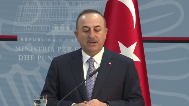 turkish foreign minister mevlut cavusoglu holds a joint press conference with deputy minister of foreign affairs of albania gent cakaj in tirana... - tirana stock videos & royalty-free footage