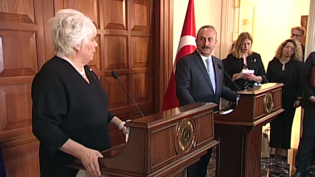 turkish foreign minister mevlut cavusoglu holds a joint press conference with estonian foreign minister marina kaljurand at turkish foreign ministry... - southern european stock videos & royalty-free footage
