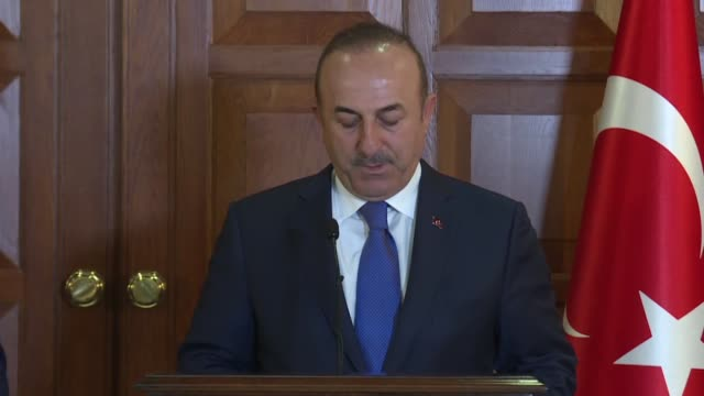 Turkish Foreign Minister Mevlut Cavusoglu holds a joint press conference with his Maltese counterpart Hon Carmelo Abela after the opening ceremony of...