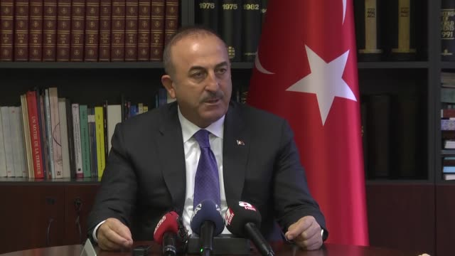 "Turkish Foreign Minister Mevlut Cavusoglu holds a press conference after NATO Foreign Ministers Meeting in Brussels Belgium on December 06 2017 ""The..."