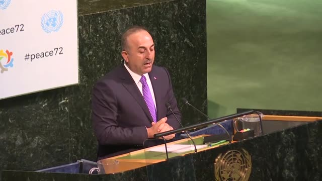 turkish foreign minister mevlut cavusoglu makes a speech during a high level meeting on 'peacebuilding and sustaining peace' at united nations... - united nations general assembly stock videos & royalty-free footage