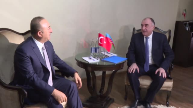 Turkish Foreign Minister Mevlut Cavusoglu meets Azerbaijani Foreign Minister Elmar Mammadyarov after 5th Trilateral Meeting of Foreign Ministers of...