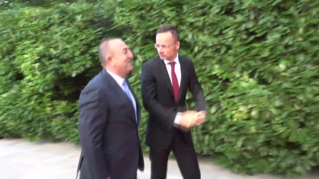 turkish foreign minister mevlut cavusoglu meets hungarian foreign minister peter szijjarto in budapest, hungary on september 19, 2019. cavusoglu will... - eastern european culture stock videos & royalty-free footage