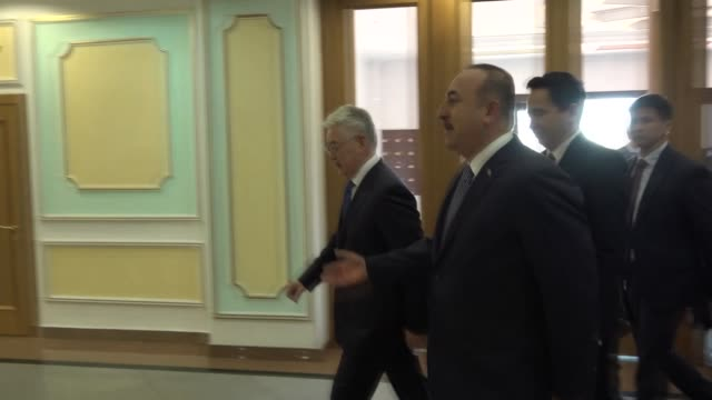 turkish foreign minister mevlut cavusoglu meets kazakh foreign minister beibut atamkulov in nursultan kazakhstan on may 24 2019 turkish foreign... - foreign minister stock videos and b-roll footage