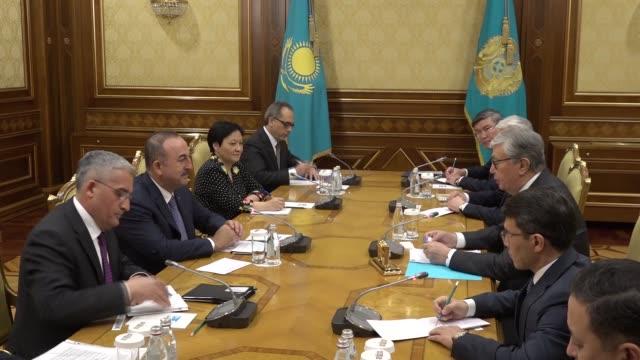 turkish foreign minister mevlut cavusoglu meets kazakhstani president kassymjomart tokayev in nursultan kazakhstan on may 24 2019 - foreign minister stock videos and b-roll footage
