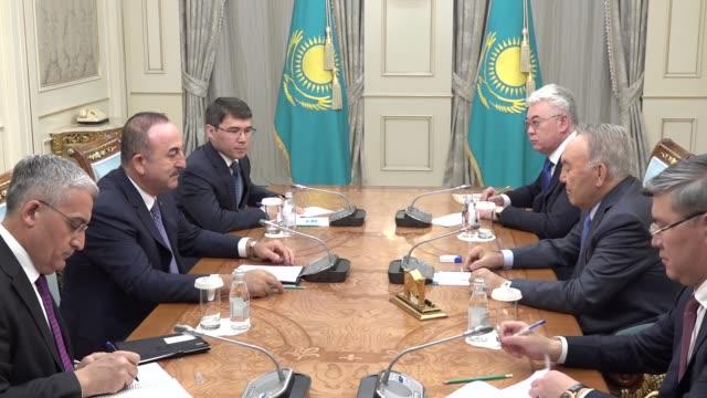 turkish foreign minister mevlut cavusoglu meets kazakhstan's first president nursultan nazarbayev in nursultan kazakhstan on may 24 2019 - nur sultan stock videos and b-roll footage