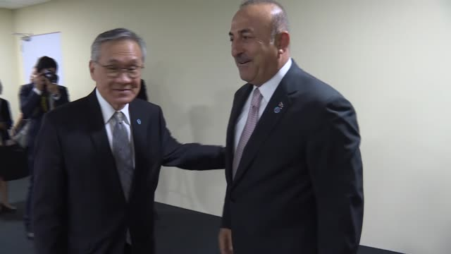 Turkish Foreign Minister Mevlut Cavusoglu meets Minister of Foreign Affairs of Malaysia Saifuddin Abdullah and Thai Foreign Minister Don Pramudwinai...