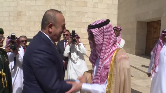 Turkish Foreign Minister Mevlut Cavusoglu meets Minister of Foreign Affairs of Saudi Arabia Adel alJubeir in Riyadh Saudi Arabia on October 13 2016...