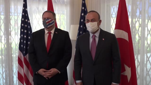 turkish foreign minister mevlut cavusoglu meets us secretary of state mike pompeo in dominican republic on august 16, 2020. - hispaniola stock videos & royalty-free footage