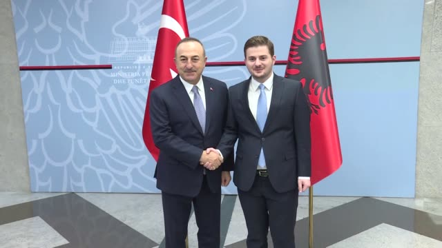 turkish foreign minister mevlut cavusoglu meets with acting albanian europe and foreign affairs minister gent cakaj on february 12 2020 in tirana... - tirana stock videos & royalty-free footage