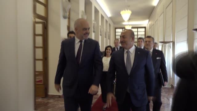 turkish foreign minister mevlut cavusoglu meets with albanian prime minister edi rama in tirana albania on october 19 2018 - tirana stock videos & royalty-free footage