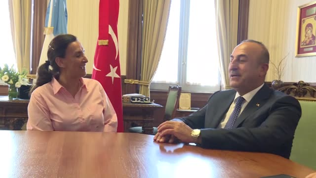Turkish Foreign Minister Mevlut Cavusoglu meets with Argentina's VicePresident Gabriela Michetti at Casa Rosada in Buenos Aires Argentina on January...