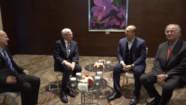 turkish foreign minister mevlut cavusoglu meets with british cochairs of the turkishbritish tatlidil forum jack straw and julianhorn smith in the... - mediterranean turkey stock videos and b-roll footage