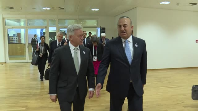 Turkish Foreign Minister Mevlut Cavusoglu meets with British Minister of State for Europe and the Americas Alan Duncan on the sidelines of the 23rd...
