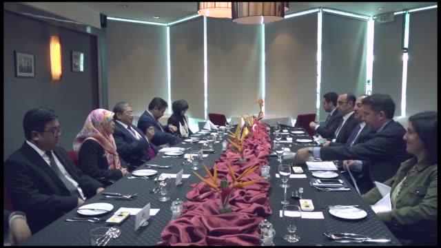 turkish foreign minister mevlut cavusoglu meets with bruneian second minister of foreign affairs & trade erywan yusof in bandar seri begawan, brunei... - brunei stock videos & royalty-free footage
