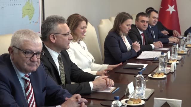 turkish foreign minister mevlut cavusoglu meets with chairperson of the national assembly foreign affairs committee of bulgaria dzhema grozdanova and... - chairperson stock videos & royalty-free footage
