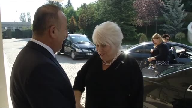 turkish foreign minister mevlut cavusoglu meets with estonian foreign minister marina kaljurand at turkish foreign ministry building in ankara turkey... - august stock videos & royalty-free footage