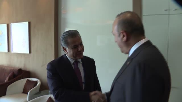 turkish foreign minister mevlut cavusoglu meets with falah mustafa bakir, foreign minister of the iraqi kurdish regional government and chairman of... - senator stock videos & royalty-free footage