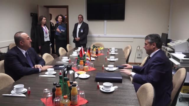 Turkish Foreign Minister Mevlut Cavusoglu meets with German Foreign Minister Sigmar Gabriel on the sidelines of the NATO Foreign Ministers meeting in...