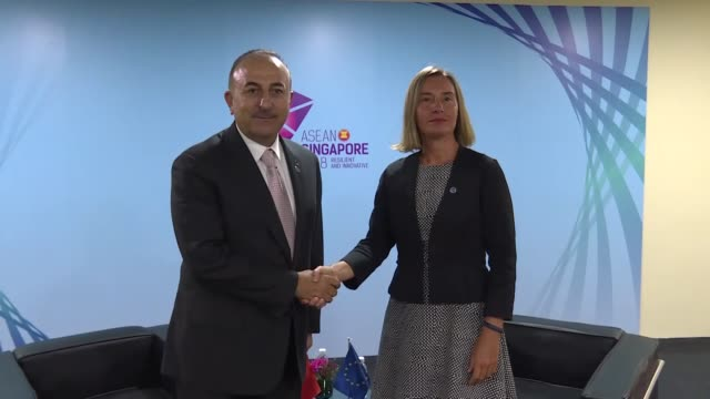 Turkish Foreign Minister Mevlut Cavusoglu meets with High Representative of the European Union for Foreign Affairs and Security Policy Federica...