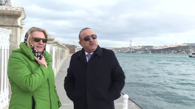 Turkish Foreign Minister Mevlut Cavusoglu meets with his Austrian counterpart Karin Kneissl at Dolmabahce Prime Ministry Office in Istanbul Turkey on...