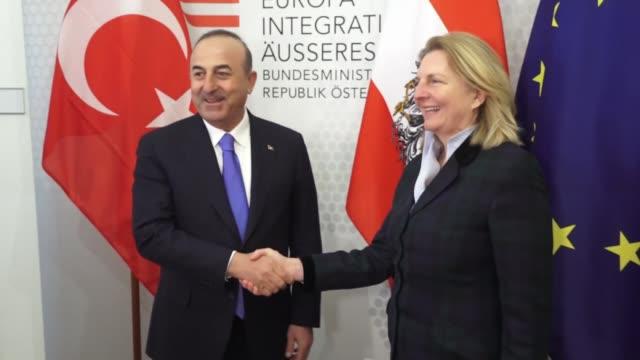 Turkish Foreign Minister Mevlut Cavusoglu meets with his Austrian counterpart Karin Kneissl in Vienna Austria on March 08 2018