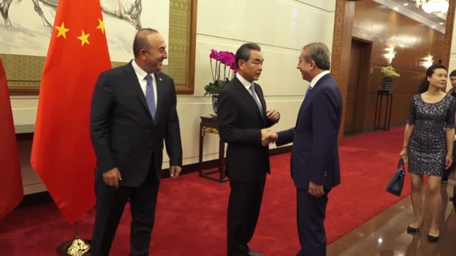 turkish foreign minister mevlut cavusoglu meets with his chinese counterpart wang yi in beijing china on august 03 2017 - government minister stock videos & royalty-free footage